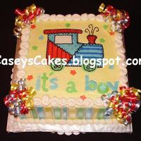 "Carter Baby Train  10""x4"" square Strawberry & Vanilla layered cake with vanilla BC icing & fondant decorations. The design matches the party..."