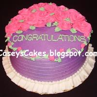 "Baby Shower Roses 8""x4"" round cake with all vanilla buttercream icing. This was for a baby shower & the M2B asked for purple-green-pink / girly..."