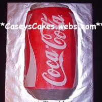 "Coca-Cola Soda Can  My mom requested this cake for one of the ladies at the bank. I am told that she drinks alot of coke. =) I used 4 - 8"" round cakes -..."