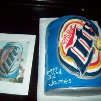 Miller Lite Cake This was a fun cake. Baked 3 six-inch cakes and cut in half to make the beer can shape before covering in buttercream and fondant.