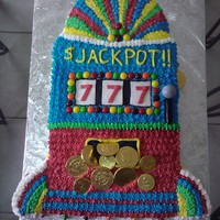 Slot Machine Cake This cake was made for my bosses mom's 89th birthday. She loves to gamble. Buttercream cake with some fondant accents, skittles and...