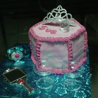 Sue's Princess Cake Fondant cake with purchased tiara, mirror, ring and accessories.