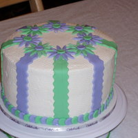 19Th Birthday Cake ~ Girl A quick cake for a young lady who's favorite colors are green & purple. Cake is WASC with buttercream icing and rolled buttercream...