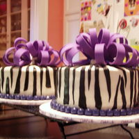 16Th Birthday ~ Girl These are cakes I made for two friends that were having a combo 16th birthday party with a purple and zebra theme. Buttercream icing with...