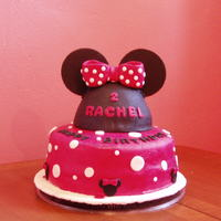 Minnie Mouse Cake Bottom cake - 2 layer, Top (Hat) was made in Pampered Chef Batter Bowl. All decorations from MMF.