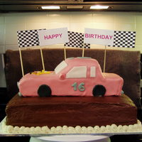 16Th Birthday Cake ~ Girl Cake for a girl's 16th birthday. She works @ a dirt track where her dad races and she loves sponge bob. Chocolate cake, chocolate...