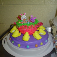Easter Basket some thing quick i threw together for my sons preschool easter party the basket is a cake that i baked in a small metal mixing bowl just...