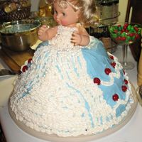 Blue Doll Cake my daughters third birthday cake she wanted a doll cake with a blue dress and she meant doll not barbie. it was way to much cake but she...