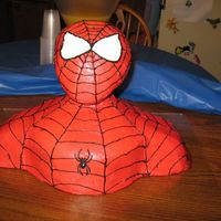 Spiderman Cake this is my sons fourth birthday cake he loves spiderman i got the idea from this web site. most people said that they used styrafoam wig...