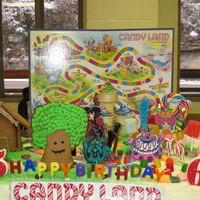 Candy Land Cake my son and daughter had a pool party together and this is what they agreed on for a shared cake i printed and colored and laminated the...
