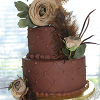 Wedding Vow Renewal Yellow WASC with Chocolate Buttercream frosting and filling. 8 and 6 inch rounds.