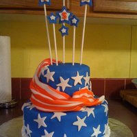 4Th Of July This is the 4th of July cake I made to bring to my parents house for the celebration of our nation's birthday. WASC cake covered in...