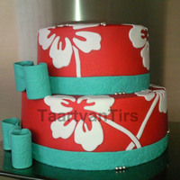 Hawaian Flower Made this cake with our new cutters!!