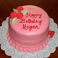 "Megan's Cake For my daughter's 23rd b-day. A 6"" yellow cake with peanut butter buttercream filling. Frosted with vanilla buttercream and then..."