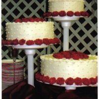 111 Roses My friend saw this cake on the wilton cake stand box and wanted it. It took me 111 roses to border all three layers.