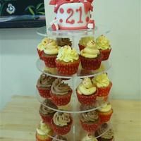 Red Polka Dot Cupcake Tower this was fun - 4 inch cake and 30 cupcakes in red and white theme.