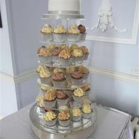 Cupcake Tower Wedding silver and white theme cupcake tower for a wedding
