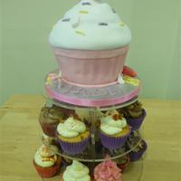 Giant Cupcake And Cupcakes giant fondant covered cc plus glittery small cupcakes on a porcelan stand.