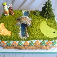 David's Golf Cake This was made for my husband's step-brother who loves golf. His mother asked for a cake made to go with the little salt and pepper set...