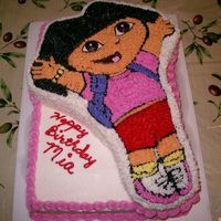 Dora The Explorer Dora is Chocolate cake. The bottom is vanilla. All buttercream icing