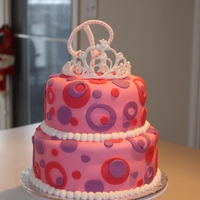 "Princess Polka-Dot Birthday Cake This was done for a friend's daughter's 5th b-day. Covered in MMF, ""R"" and tiara are Royal Icing."