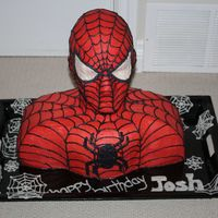 Spiderman Spiderman for Birthday party. The head is styrofoam - first cake I've ever made not 100% edible, but my friend did not need that much...