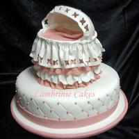 Pretty Rose Bassinet The bassinet was made by using a 6 inch, double layer, cake covered in Fondant ruffles. The bassinet canopy is Fondant mixed with a little...