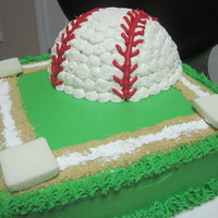 Baseball Field  My friends little boy wanted a baseball cake. His directions were that he wanted the baseball to be round on top and flat on bottom :)...