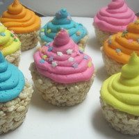 Rice Crispy Treat Cupcakes  I got this idea from the new fruity pebbles cereal! The cereal happens to be cupcake flavored. So i decided to make regular rice crispy...