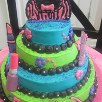 Girly Cake  This cake was for a little girl who loved purse and makeup.............all girly stuff! I had done a cake like this one before and she...