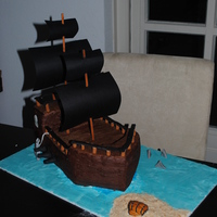 Pirate Ship Dummy Cake cake made mainly from RKT and styrofoam. Lots of work, but fun to figure out
