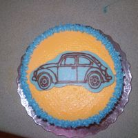 "Volkswagen Chocolate 6"" round almond cake, buttercream and VW in chocolate method learned from the whimsical bakehouse book. Thanks."