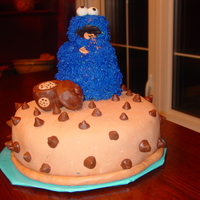 Cookie Monster  Cookie Monster is shaped from Rice Krispie treats and covered in buttercream. Chocolate chips and cookie jar are made from modeling...