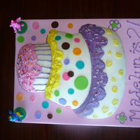 Wilton Topsy Turvy Cake  This is a cake I did for my daughters 2nd birthday...it was the first time using this cake pan and my first time using fondant. The cake is...