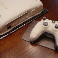 Xbox 360  Chocolate fudge sour cream cake covered in fondant...all details are fondant. Controller is molded from Rice Krispies and covered and...