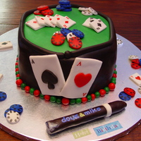 Poker!  A poker cake for two brothers who share the same birth date just one year apart! I love how this cake turned out and the vibrant colours!...