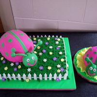 Pink And Green Ladybug This cake was for a child's first birthday. The big ladybug is cake covered in MMF on top of another cake with fondant accents. The...
