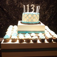 13Th Birthday This is my daughter's 13th Birthday cake/cupcakes for her party.