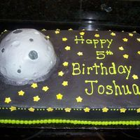 Outerspace This cake was made for a boy who loves outerspace. All BC icing with fondant stars. The moon is made from sports ball pan.