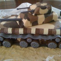 Austin's Birthday Army tank made for my son's 13th birthday. WASC covered with rolled buttercream and modeling chocolate accents. My first 3D cake. It...
