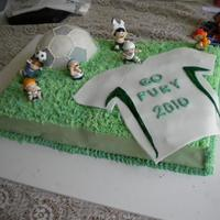 Soccer Ball And Jersey Half sheet cake, with soccer ball. Fondant sides, soccer ball, and jersey. Plastic soccer players (my mom had to have them, I thought they...