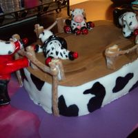 Roller Derby Cows I gave this cake as a gift to a dear friend of mine who so happened to love cows, and plays roller derby. The cows were made of fondant,...