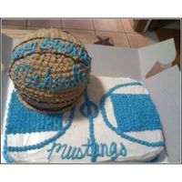 Basketball Cake I used the 3D ball cake pan from Wilton!