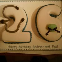 26Th Birthday this was a cake for twin men. One was a doctor - hence stethoscope and second was into astrophysics - hence the alien!!