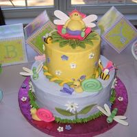 Bug Garden Baby Shower Cake Did this for a baby shower - nursery decor was green dragonflies, so I worked them in as best I could with a 'garden' theme cake...