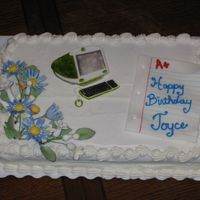 "Computer Teacher Cake Made this for a computer teacher. ""Paper"" made out of gumpaste, with blue and red lines painted on with food color w/ lemon..."