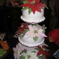 "Poinsettia Cake  Three tier cake (6, 8, 10""), buttercream icing, red, pink, white gumpaste poinsettas on each layer. Poinsettias took forever, but..."