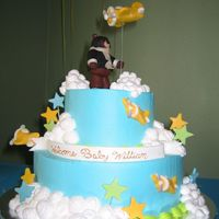 "Airplane Baby Shower Cake The theme for this shower was yellow, lime green, and turquoise, and airplanes!!! Yikes!! A 6"" and 10"" cake, with whipped icing...."