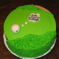 "Golf Birthday Cake  Simple 8"" round cake with golf ball. For a mans birthday. Fondant golf ball with dimples, used grass tip for 'ruff' and..."
