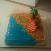 Jamaican Beach all the figuers are gumpaste/fondant. mocha chocolate cake with buttercrem icing.